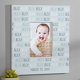 Modern Baby Boy Personalized Repeating Name Vertical Wall Frame