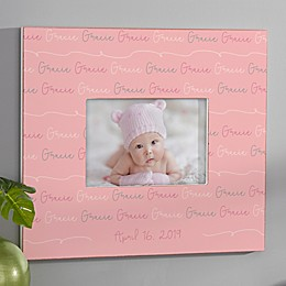 Modern Baby Girl Personalized Repeating Name Horizontal Frame