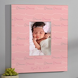 Modern Baby Girl Personalized Repeating Name Vertical Frame