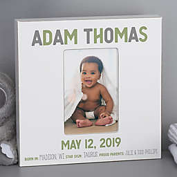 Baby Boy Birth Stats Personalized Box Picture Frame- Vertical