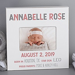 Baby Girl Birth Stats Personalized Box Picture Frame- Horizontal