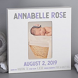 Baby Girl Birth Stats Personalized Box Picture Frame- Vertical