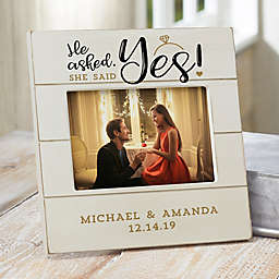 He Asked, She Said Yes Personalized Engagement Shiplap Picture Frame