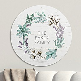 Farmhouse Cotton Wreath Personalized Wood Round Sign