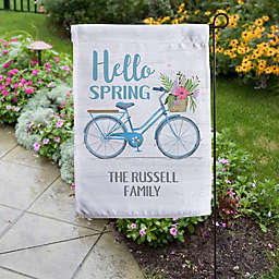 Hello Spring Floral Bicycle Personalized Garden Flag