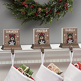 Holiday Bear Family Personalized Stocking Holder