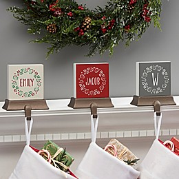 Christmas Wreath Personalized Stocking Holder