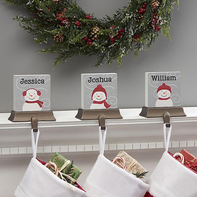 Alternate image 1 for Snowman Family Character Personalized Stocking Holder