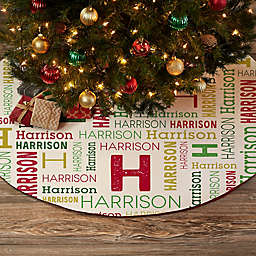 Repeating Name Personalized Christmas Tree Skirt