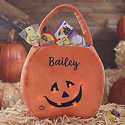 Light Up Pumpkin Embroidered Plush Trick or Treat Bag