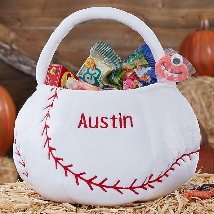 Alternate image 1 for Baseball Embroidered Halloween Treat Bag