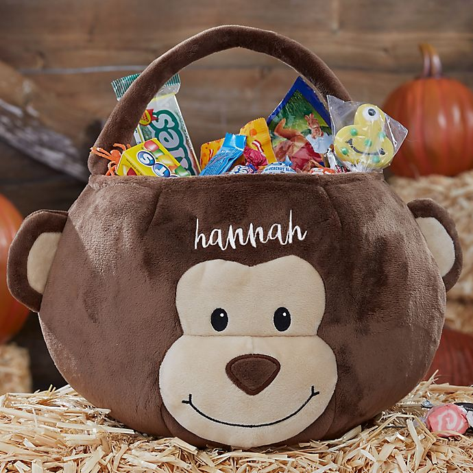 Alternate image 1 for Monkey Embroidered Halloween Treat Bag