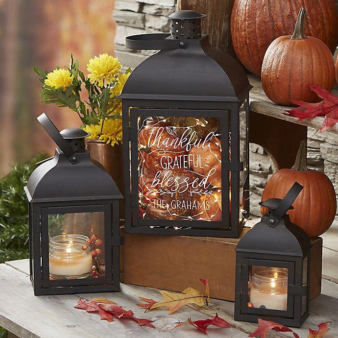 Alternate image 1 for Thankful Personalized Candle Lantern 3 Piece Set
