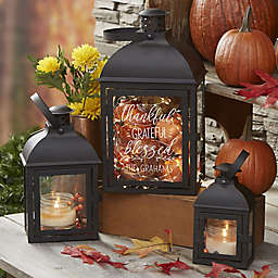 Thankful Personalized Candle Lantern 3 Piece Set