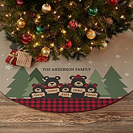 Holiday Bear Family Personalized Christmas Tree Skirt