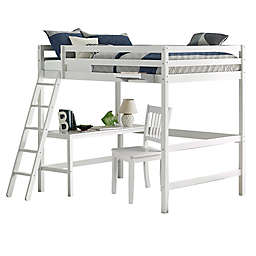 Hillsdale Furniture Caspian Full Loft Bed with Chair and Hanging Nightstand