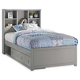 Hillsdale Caspian Twin Bookcase Bed with Storage in Grey