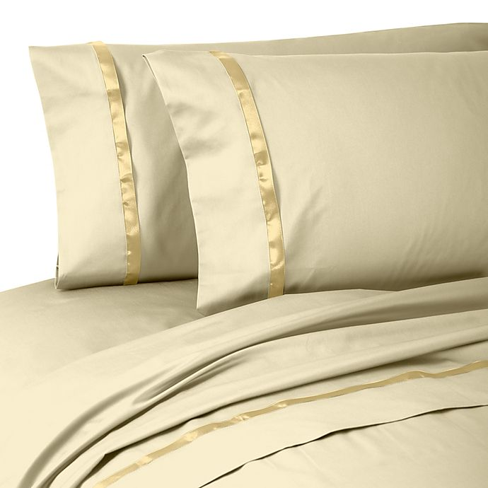 Alternate image 1 for Waterford® Linens Kiley King Pillowcases in Wheat (Set of 2)