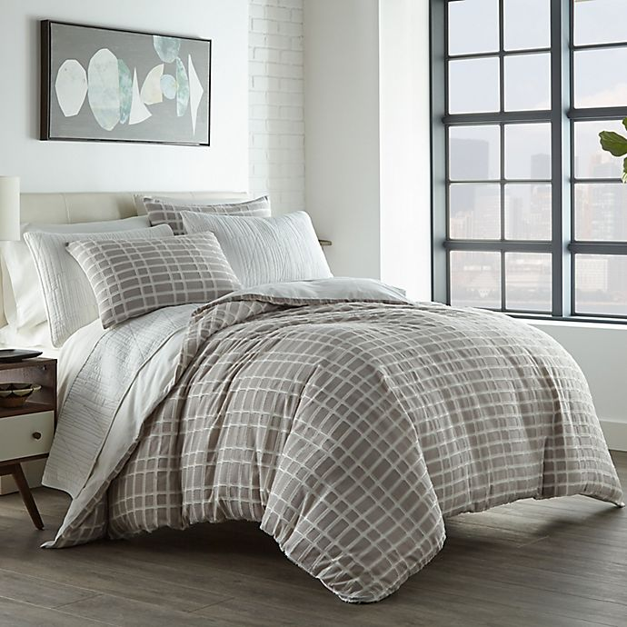 Alternate image 1 for City Scene® Sherman 2-Piece Twin Duvet Cover Set in Grey
