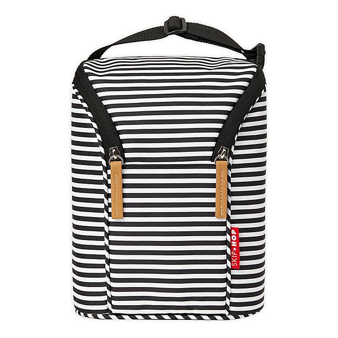 Alternate image 1 for SKIP*HOP® Grab & Go Double Bottle Bag in Black/White