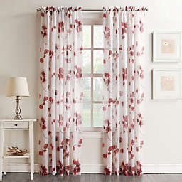 No.918® Keiko Crushed Floral 95-Inch Rod Pocket Sheer Curtain Panel in Coral (Single)