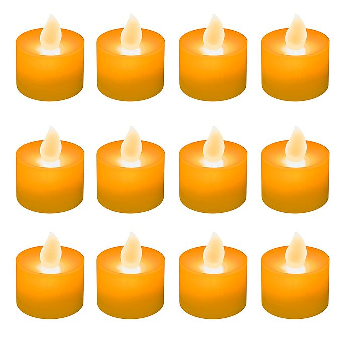 Alternate image 1 for LED Battery Operated Tealight Candles in Orange (Set of 12)