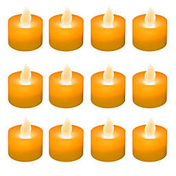 LED Battery Operated Tealight Candles in Orange (Set of 12)