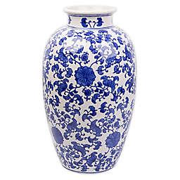 One Kings Lane Open House™ 16-Inch Vase in Blue/White