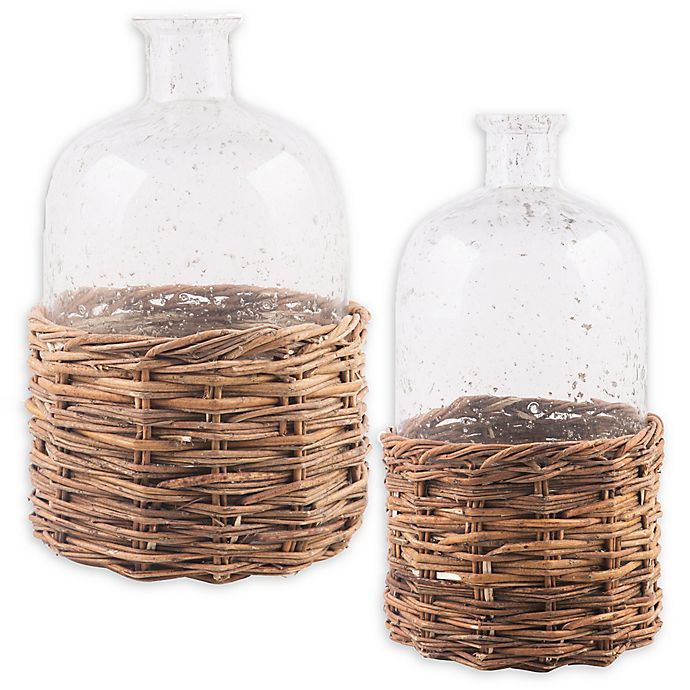 Alternate image 1 for Bee & Willow™ Home Glass Bottle with Rattan Base