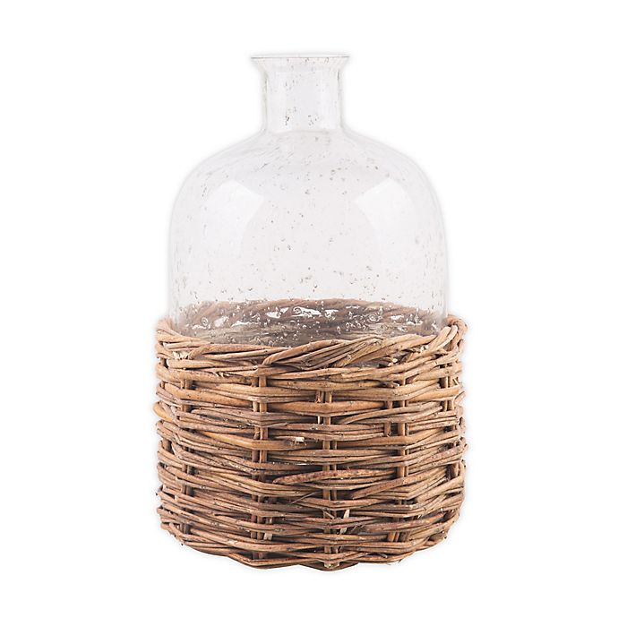 Alternate image 1 for Bee & Willow™ Home Medium Glass Bottle with Rattan Base