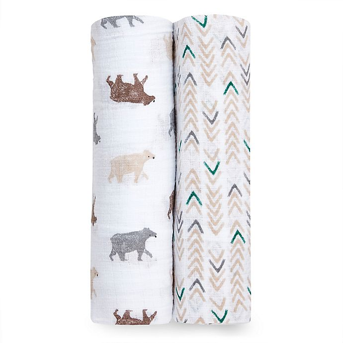 Alternate image 1 for aden + anais® 2-Pack Bear Necessities Muslin Swaddles in Brown