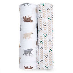 aden + anais® 2-Pack Bear Necessities Muslin Swaddles in Brown