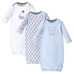 Touched by Nature Infinite Love Bear Size 0-6M 3-Pack Organic Cotton Gowns in Blue