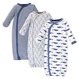Touched by Nature Whale Size 0-6M 3-Pack Organic Cotton Kimono Gown in Blue