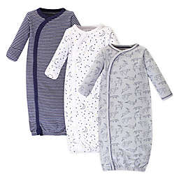 Touched by Nature Constellation Size 0-6M 3-Pack Organic Cotton Kimono Gown in Grey