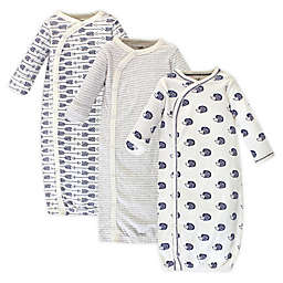 Touched by Nature Hedgehog Size 0-6M 3-Pack Organic Cotton Kimono Gown in Blue