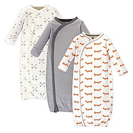 Touched by Nature Fox Size 0-6M 3-Pack Organic Cotton Kimono Gown in in Orange