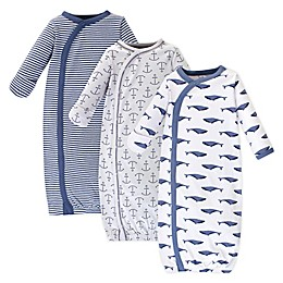 Touched by Nature Whale Preemie 3-Pack Organic Cotton Kimono Gown in Blue