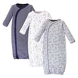 Touched by Nature Stars Preemie 3-Pack Organic Cotton Kimono Gown in Grey