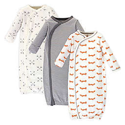 Touched by Nature Fox Preemie 3-Pack Organic Cotton Kimono Gown in Orange