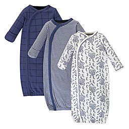 Touched by Nature Elephant Preemie 3-Pack Organic Cotton Kimono Gown in Grey