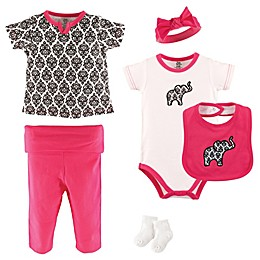 Yoga Sprout 6-Piece Damask Layette Set in Black/White/Pink