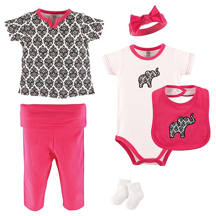Alternate image 1 for Yoga Sprout 6-Piece Damask Layette Set in Black/White/Pink