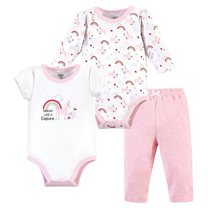 Alternate image 1 for Luvable Friends 3-Piece Unicorn Layette Set in Pink