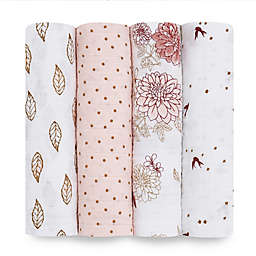 aden + anais® 4-Pack Dahlia Muslin Swaddle Blankets in Pink