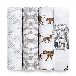aden + anais® 4-Pack Hear Me Roar Cotton Swaddle Blankets