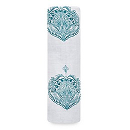 aden + anais® Paisley Cotton Swaddle Blanket in Teal