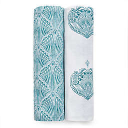 aden + anais® 2-Pack Paisley Muslin Swaddles in Teal