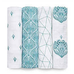 aden + anais® 4-Pack Paisley Muslin Swaddles in Teal