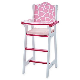 Olivia's Little World Classic Baby Giraffe Doll High Chair in Pink